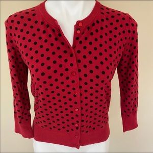 Cable&Gauge red polka dot cardigan
